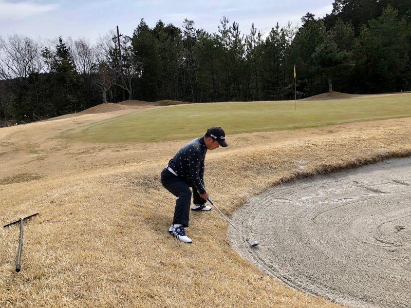 ゴルフバンカーショットワイドスタンス
