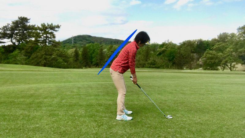 GEN-TENゴルフコースレッスンアドレス飛球線後方からの写真