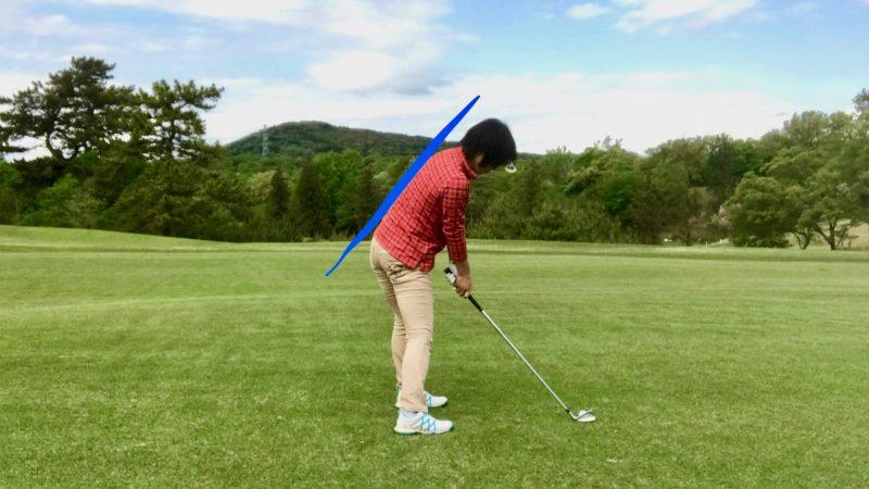 GEN-TENゴルフコースレッスンインパクト飛球線後方からの写真