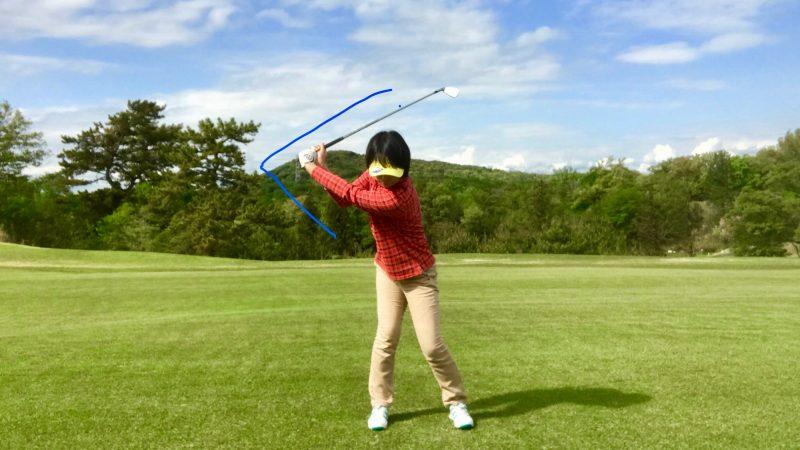 GEN-TENゴルフコースレッスントップオブスイング正面からの写真