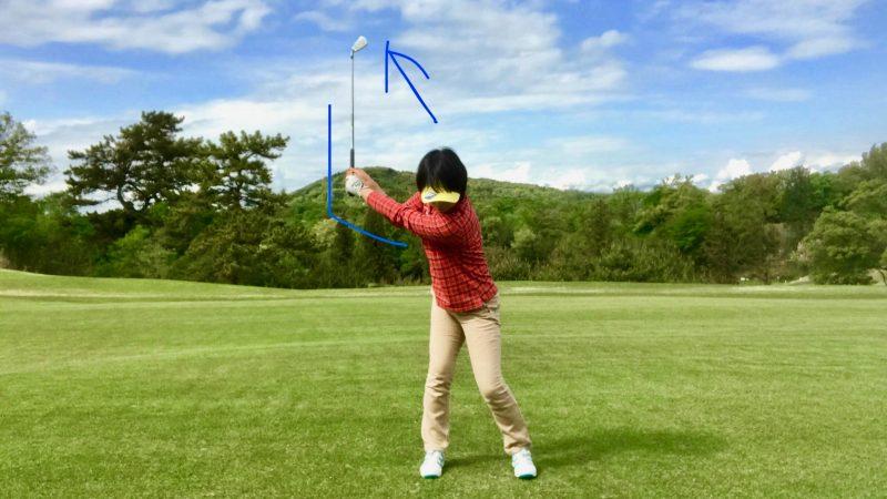 GEN-TENゴルフコースレッスン切り返し正面からの写真