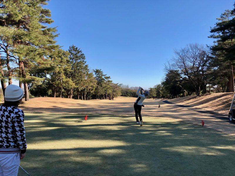 ゴルフラウンドレッスンティショット飛球線後方からの写真