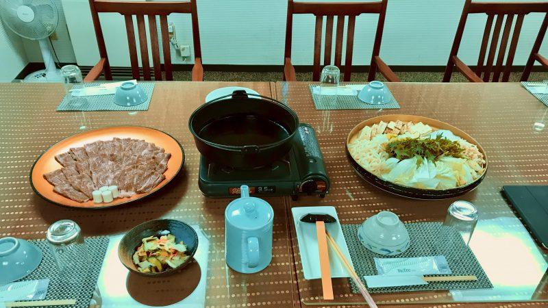 GEN-TENゴルフコースレッスン那須強化合宿夕食すき焼きの写真
