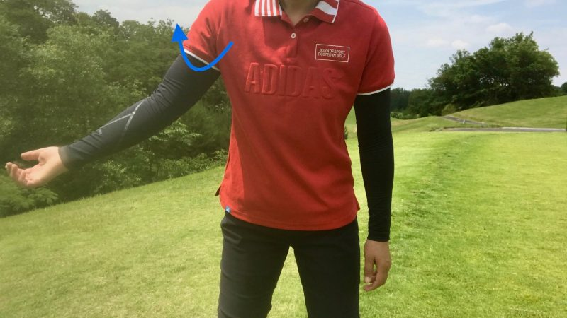 GEN-TENゴルフコースレッスン右腕外旋の写真