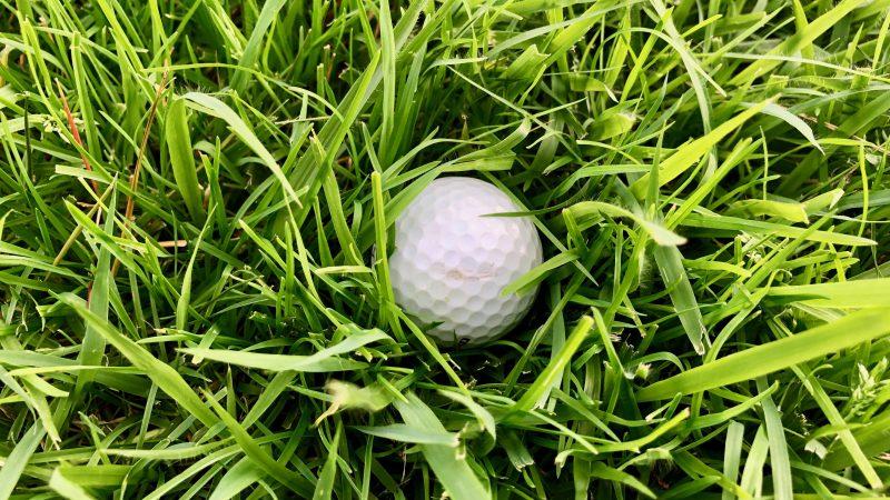 GEN-TENゴルフコースレッスンラフにボールが沈んでいる写真