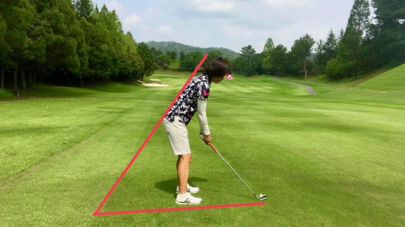 GEN-TENゴルフコースレッスン平らなライのアドレスの写真