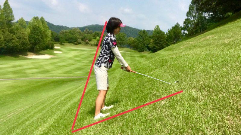 GEN-TENゴルフコースレッスンつま先上がりで上体を起こしたアドレスの写真