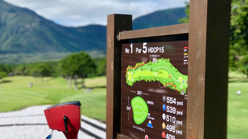 GEN-TENゴルフコースレッスンDC朝霧CCティイングエリアコース案内の写真