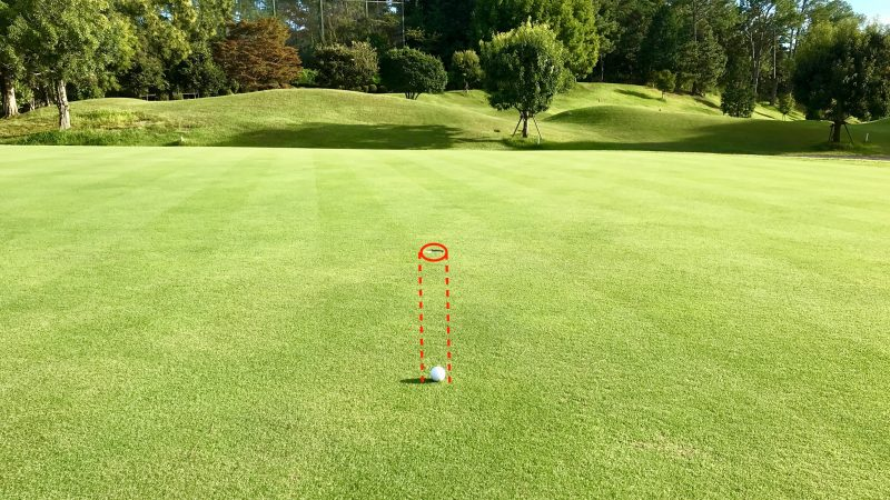 GEN-TENゴルフコースレッスンパッティングの方向性ボールとカップの写真