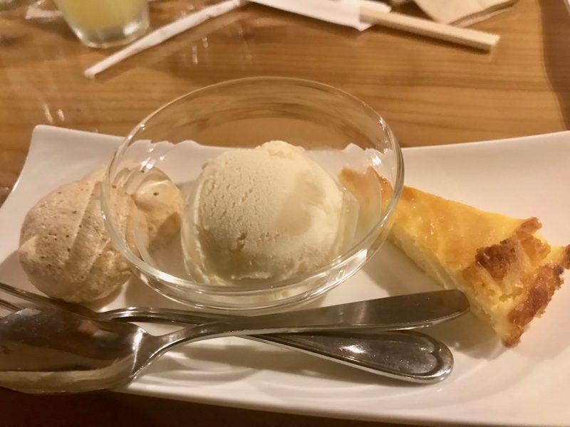 GEN-TENゴルフコースレッスン強化合宿マオイGR夕食コース料理デザートの写真