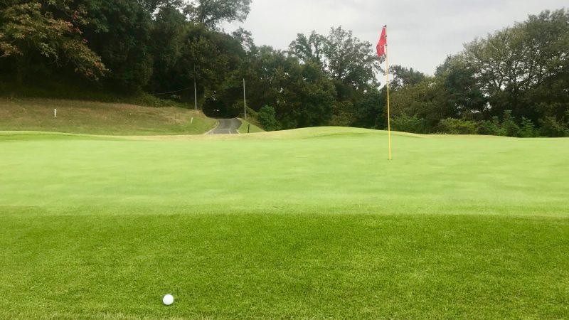 GEN-TENゴルフコースレッスンボールとグリーンの写真