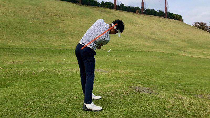 GEN-TENゴルフコースレッスン前傾角度フォローの写真