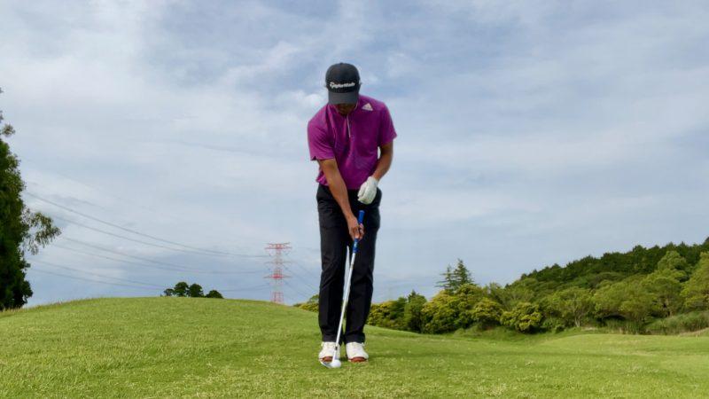 GEN-TENゴルフコースレッスンアプローチドリル右片腕アドレス