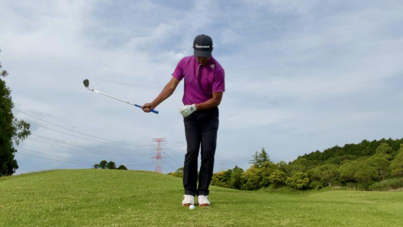 GEN-TENゴルフコースレッスンアプローチドリル右片腕テークバック