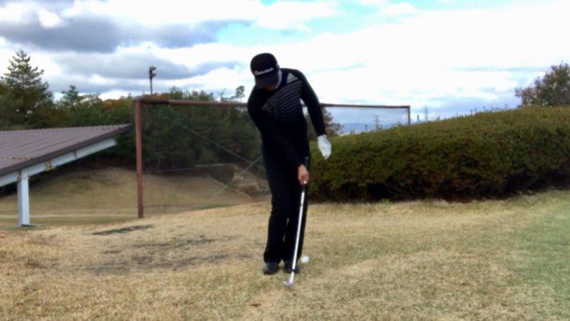 GEN-TENゴルフコースレッスン右片腕インパクトの写真