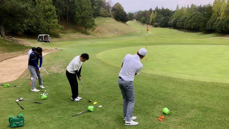 GEN-TENゴルフコースレッスン名古屋グリーンCC定点練習アプローチショットの写真
