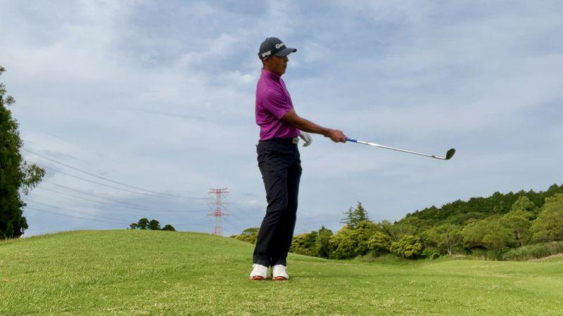 GEN-TENゴルフコースレッスンアプローチドリル右片腕フィニッシュ