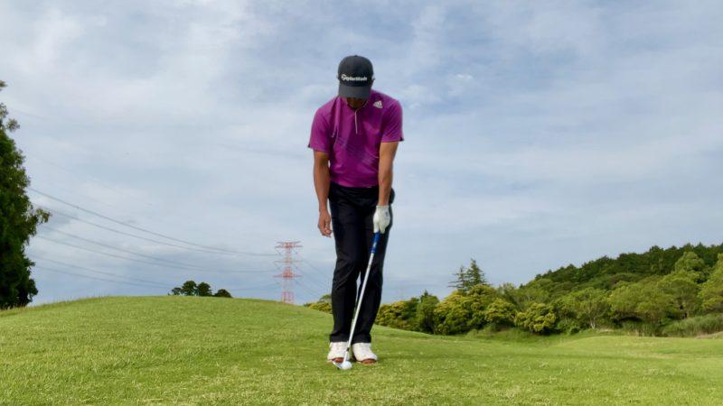GEN-TENゴルフコースレッスンアプローチドリル左片腕アドレス