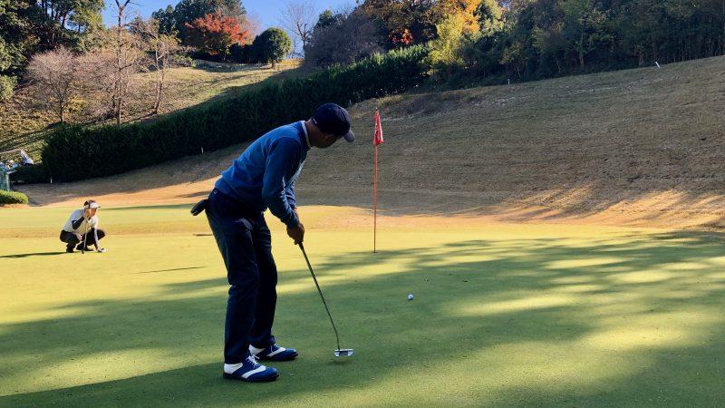 GEN-TENゴルフコースレッスン飯能パークCCハーフラウンド2番ホールパッティングの写真