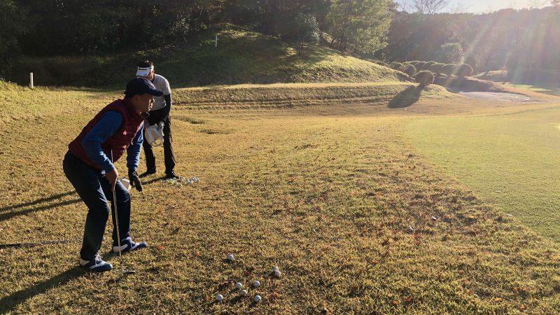 GEN-TENゴルフコースレッスン飯能パークCC定点練習グリーン左からのアプローチの写真