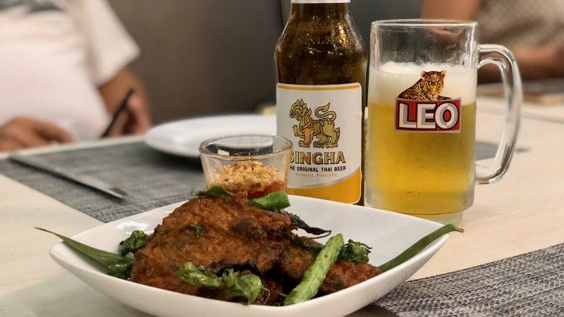 GEN-TENゴルフコースレッスンスプリングフィールドロイヤルCC料理とビールの写真
