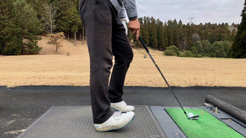 GEN-TENゴルフコースレッスン重心位置右足カカト左足つま先重心の写真