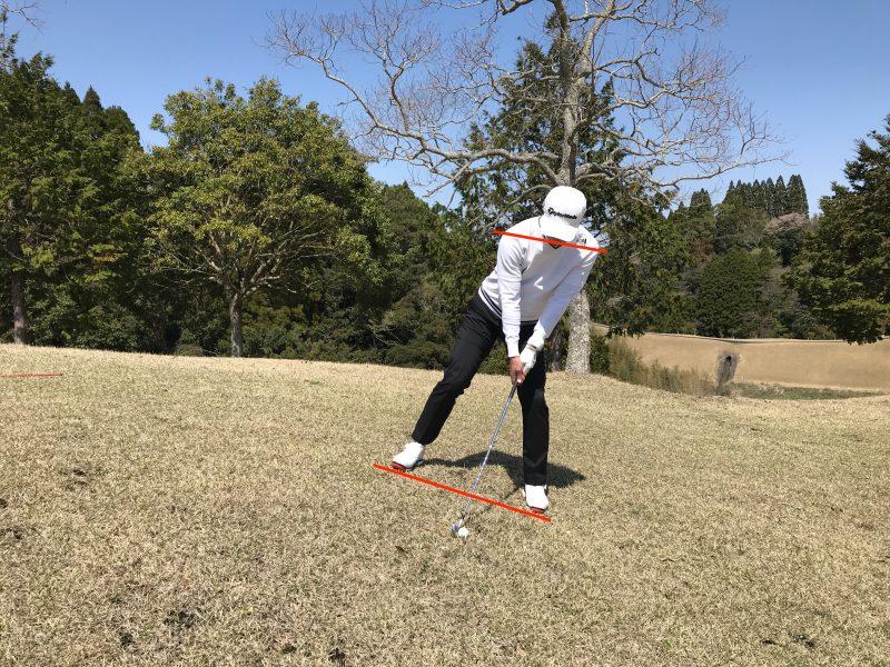 GEN-TENコースレッスン傾斜地のアドレス左足上がり肩のライン