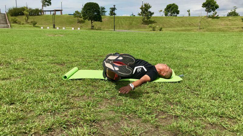 GEN-TENコースレッスン飛距離アップトレーニング腹筋側面左倒し