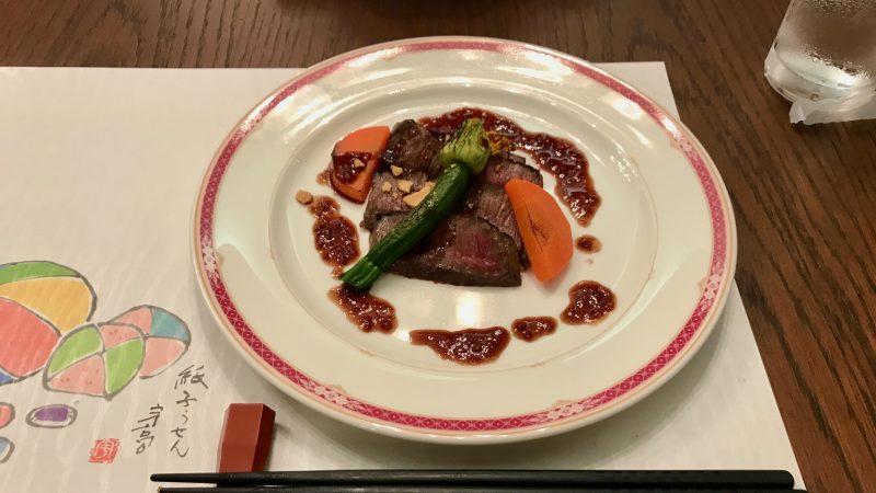 GEN-TENコースレッスンDC静ヒルズCC夕食ステーキ