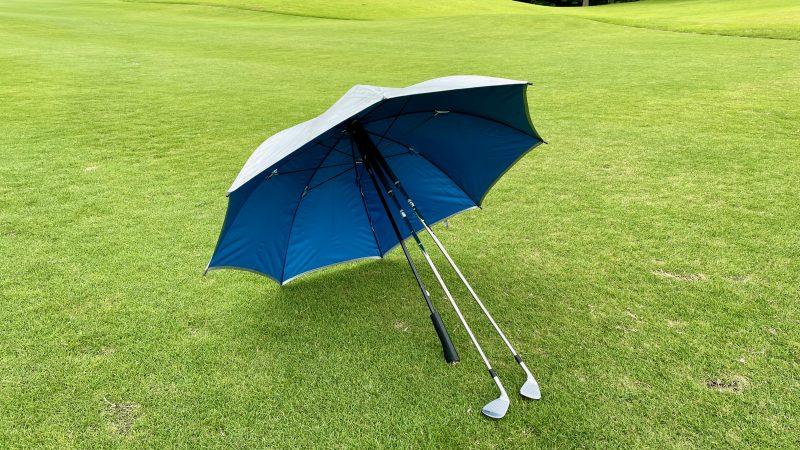 GEN-TENコースレッスン雨ゴルフ傘の置き方